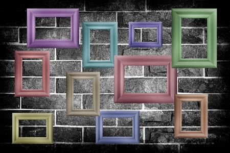 Blank wood frame on grunge brick wall background photo