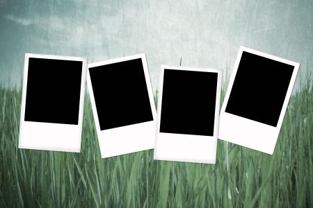 Blank photo frame on grunge background Stock Photo