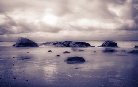 Seascape with long exposure Stock Photo