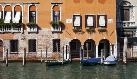 Boat port in canal at Venice, Italy photo