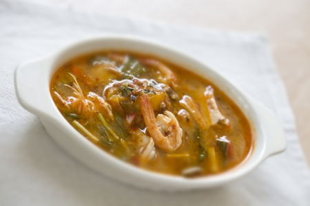 Tom Yum Kung or Spicy shrimp soup as Thai delicious food Stock Photo - 16332440