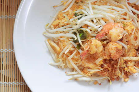 Padthai Fried noodle with shrimp as famous food of Thailand Stock Photo