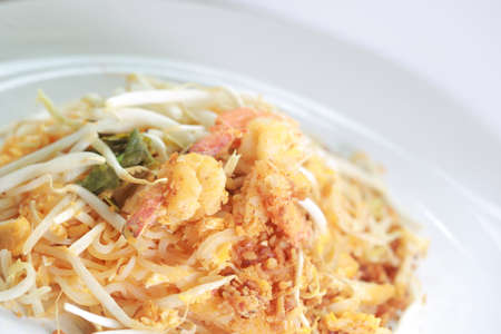Padthai Fried noodle with shrimp as famous food of Thailand photo
