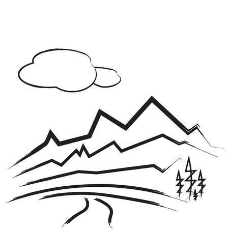 Mountain drawing illustration