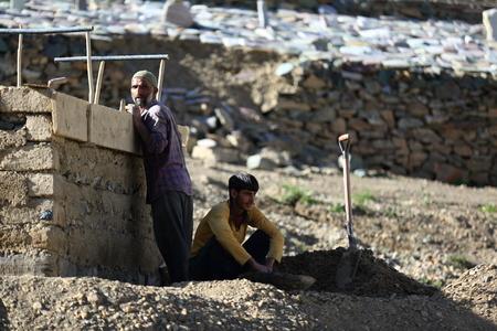 Worker in Leh, Ladakh, India Standard-Bild