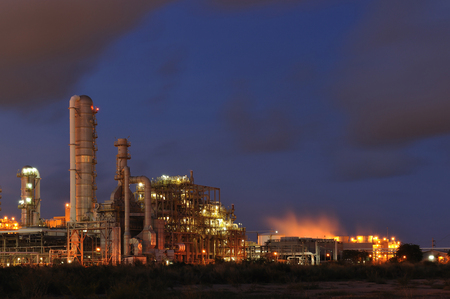 Petrochemical plant during sunset time