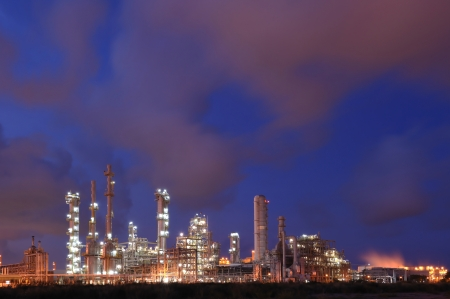 Petrochemical industry during sunset photo