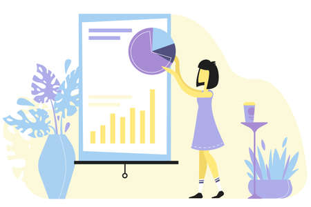 The girl presents good progress. The results of productive work. A woman shows how all the results in the business have grown. Infographics with increasing values. Vectores