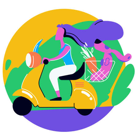 A woman with a dog riding a scooter. Plant and dog in a basket. Girl driver. Hair in the wind. They go with the breeze on the bike. Colorful illustration.