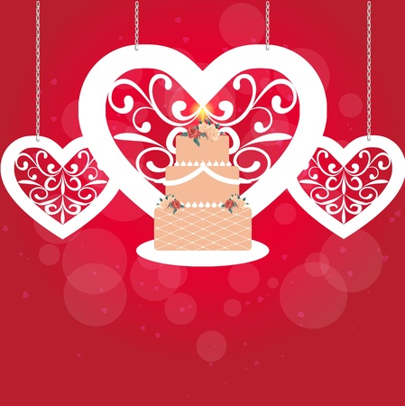fret: Romantic card with heart and cake