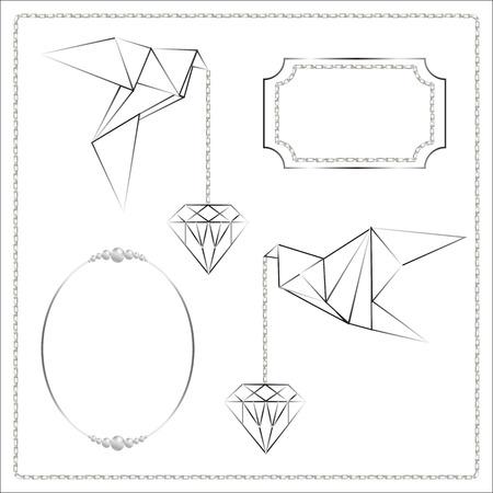 symbolic: Bird and diamond origami symbolic vector Illustration