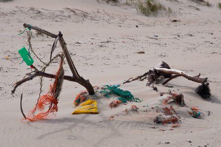 ashore: Litter washed ashore on Texel Netherlands