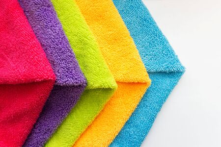 colored cleaning cloths.cleaning the house with rags. Archivio Fotografico