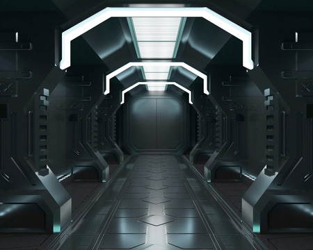 3D rendering elements of this image furnished ,Spaceship black interior with view,tunnel,corridor Reklamní fotografie