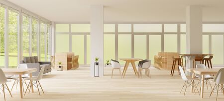 3d rendering ,Co-Working space ,empty place,white wall and wooden floor