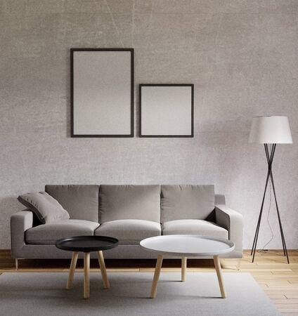 3D-Rendering Wohnzimmer im Loft-Stil mit rohem Beton, Holzboden, großem Fenster Standard-Bild