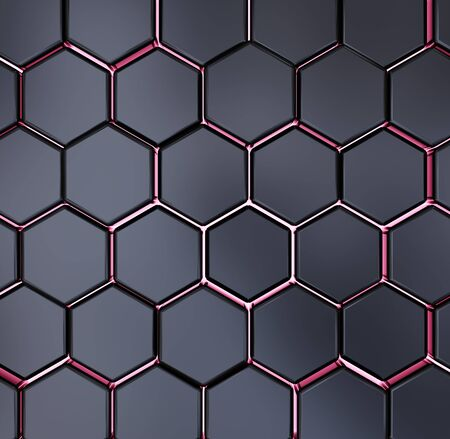 Abstract black and red hexagon texture pattern 3d rendering