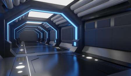3D rendering Spaceship black interior with blue light,tunnel,big corridor, futuristic