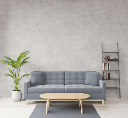 3D rendering Loft style living room with raw concrete ,wooden floor,sofa,image for copy space or mock up Standard-Bild