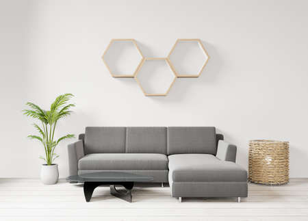 Living room on the white wall background, hexagon shelf front view,copy space ,3D rendering