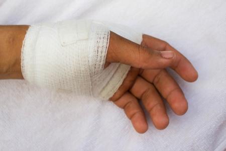 white medicine bandage on injury hand photo