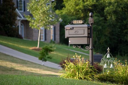 Old-styled mailbox with ornament photo