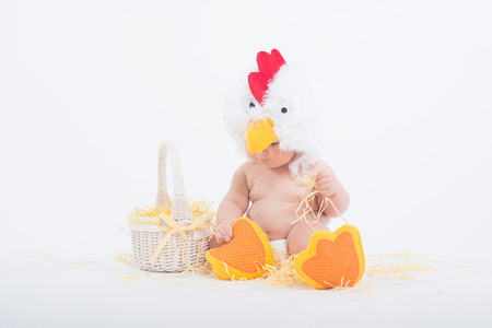 grabbing: Baby in a costume of rooster sitting in a scattered hay grabbing straw, isolated on white