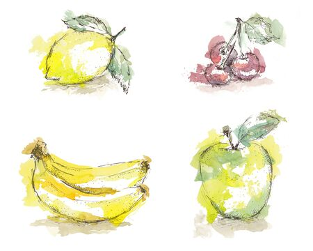 Watercolor sketch of isolated fruits - lemon, cherry, banana, green apple.