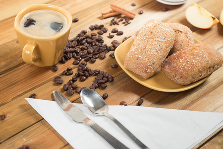jelly beans: Crispy rolls and hot coffee for breakfast