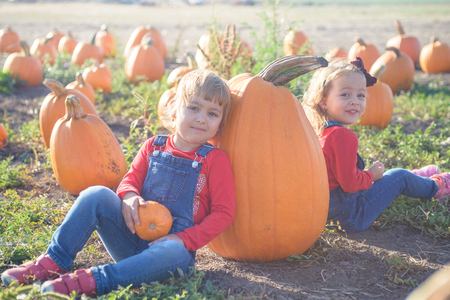 Happy girls sitting near huge pumpkin at farm field patch