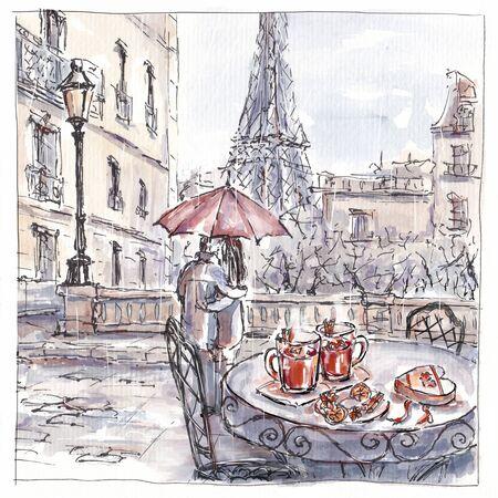 Watercolor sketch of romantic couple in Paris