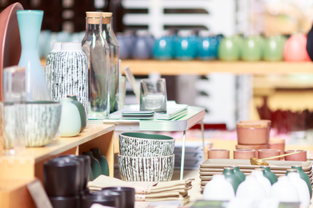 Colorful jars and bottles on store shelf display