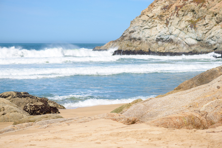 Beautiful beach and waves in the ocean Stock Photo