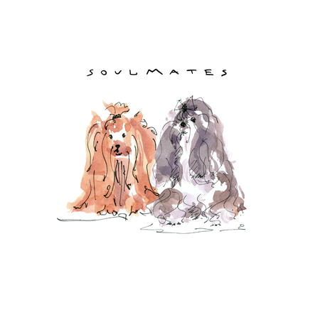 Illustration of Yorkshire Terrier and Maltese dog soulmates card