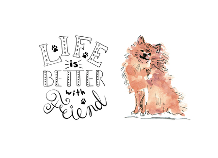 Illustration of Pomeranian Spitz friend dog with text