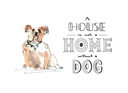 Bulldog dog with text quote