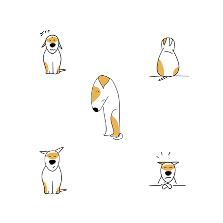 Set of sad puppy cartoon emotions illustration isolated on white 版權商用圖片