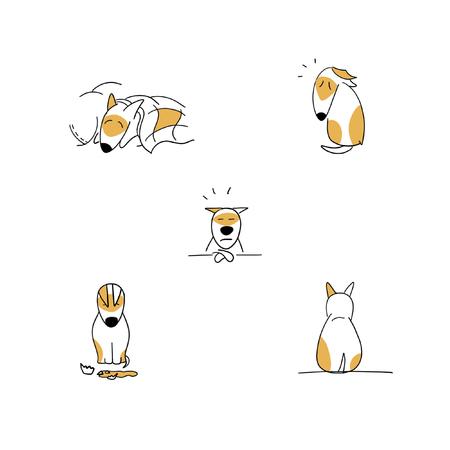 Set of sad puppy cartoon emotions illustration isolated on white Stock Photo