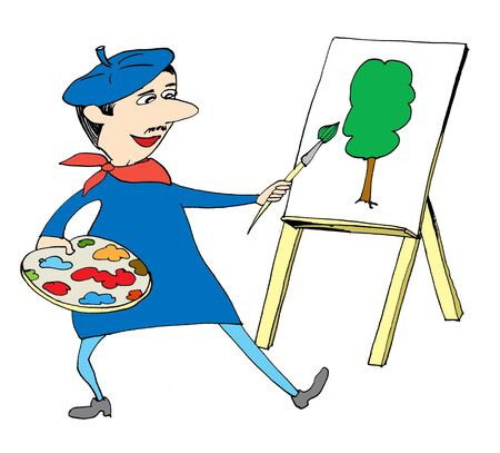 Artist with brush and palette painting tree photo