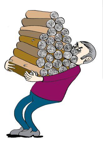 Man with woodpile, cartoon photo