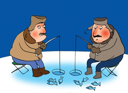 Two fishermans on a frozen river. Cartoon