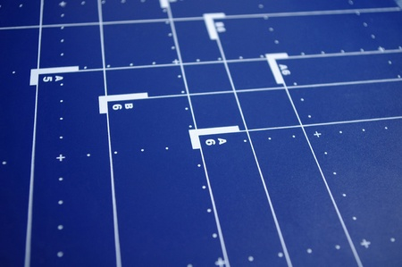 Blue desk background with paper formats Stock Photo - 8531781