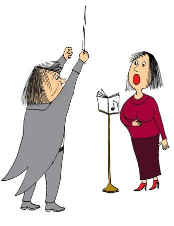 chóralne: Cartoon dyrygent muzyki na sobie tuxedo
