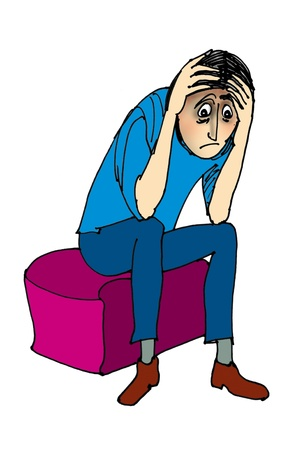 Young depressed man, cartoon  photo