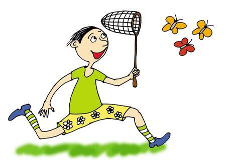 butterfly net: boy catching butterflies, cartoon    Stock Photo