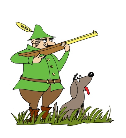 Hunter with hunting dog   photo