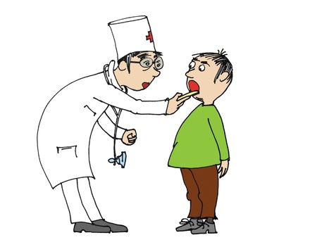 doctor examine: Boy visiting the doctor for checkup, cartoon  Stock Photo