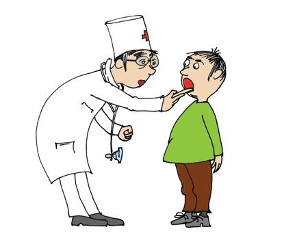 physical test: Ragazzo visita il medico per checkup, cartoon  Archivio Fotografico