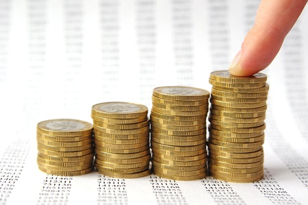 Finger and money staircase isolated on background with numbers Stock Photo - 8980298