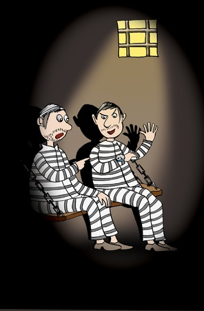 An image of a two prisoners, cartoon